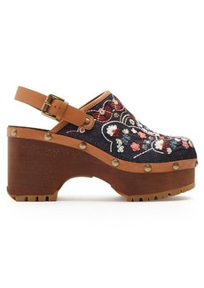 See By Chloé Slingback floral-embroidered denim clogs