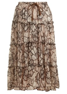 See By Chloé Snakeskin-print chiffon skirt