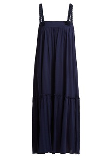 See By Chloé Square-neck braid-trimmed jersey dress