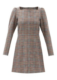 See By Chloé Square-neck checked canvas mini dress