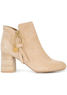 See By Chloé stacked heel booties - Nude & Neutrals