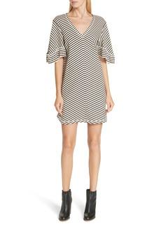 See by Chloé Stripe Ruffle Sleeve Shift Dress