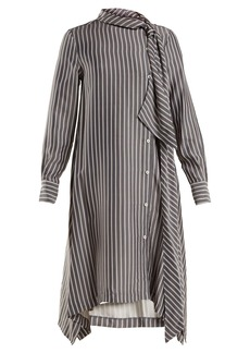 See By Chloé Striped asymmetric crepe midi dress