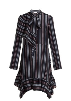 See By Chloé Striped asymmetric silk mini dress