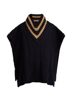 See By Chloé Striped cable-knit wool-blend poncho