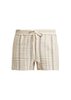 See By Chloé Striped cotton and linen-blend shorts
