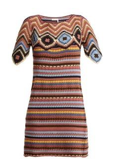 See By Chloé Striped cotton-crochet dress