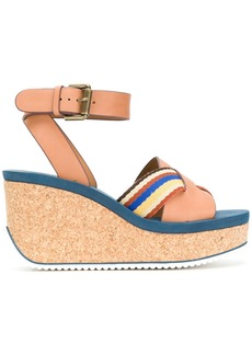 See By Chloé striped crossover wedge sandals - Nude & Neutrals