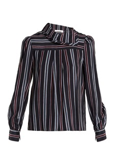 See By Chloé Striped high-neck silk blouse