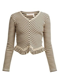 See By Chloé Striped peplum-hem cotton top