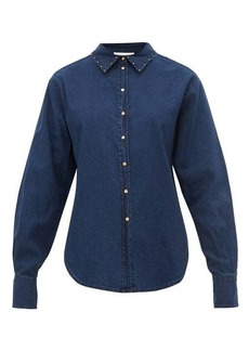 See By Chloé Studded cotton-chambray shirt