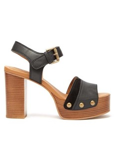 See By Chloé Studded suede-trim leather platform sandals