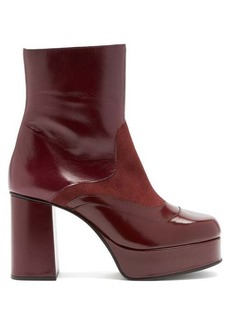 See By Chloé Suede-panel platform leather ankle boots