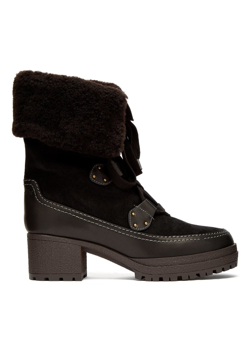 See By Chloé Suede shearling-lined block-heel boots