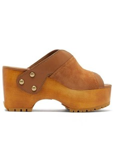 See By Chloé Suede-trimmed platform leather clogs