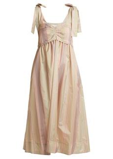 See By Chloé Sweetheart-neck striped taffeta dress
