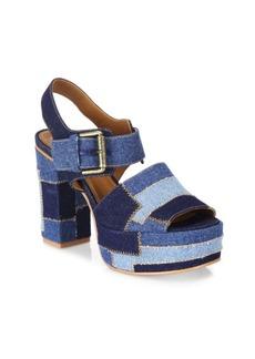 See by Chloé Tara Denim Platform Slingback Sandals
