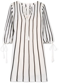 See by Chloé Tasseled striped cotton-blend mini dress