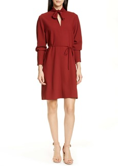 See by Chloé Tie Neck Belted Long Sleeve Crepe Dress