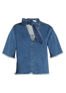 See By Chloé Tie-neck frayed-edge denim top