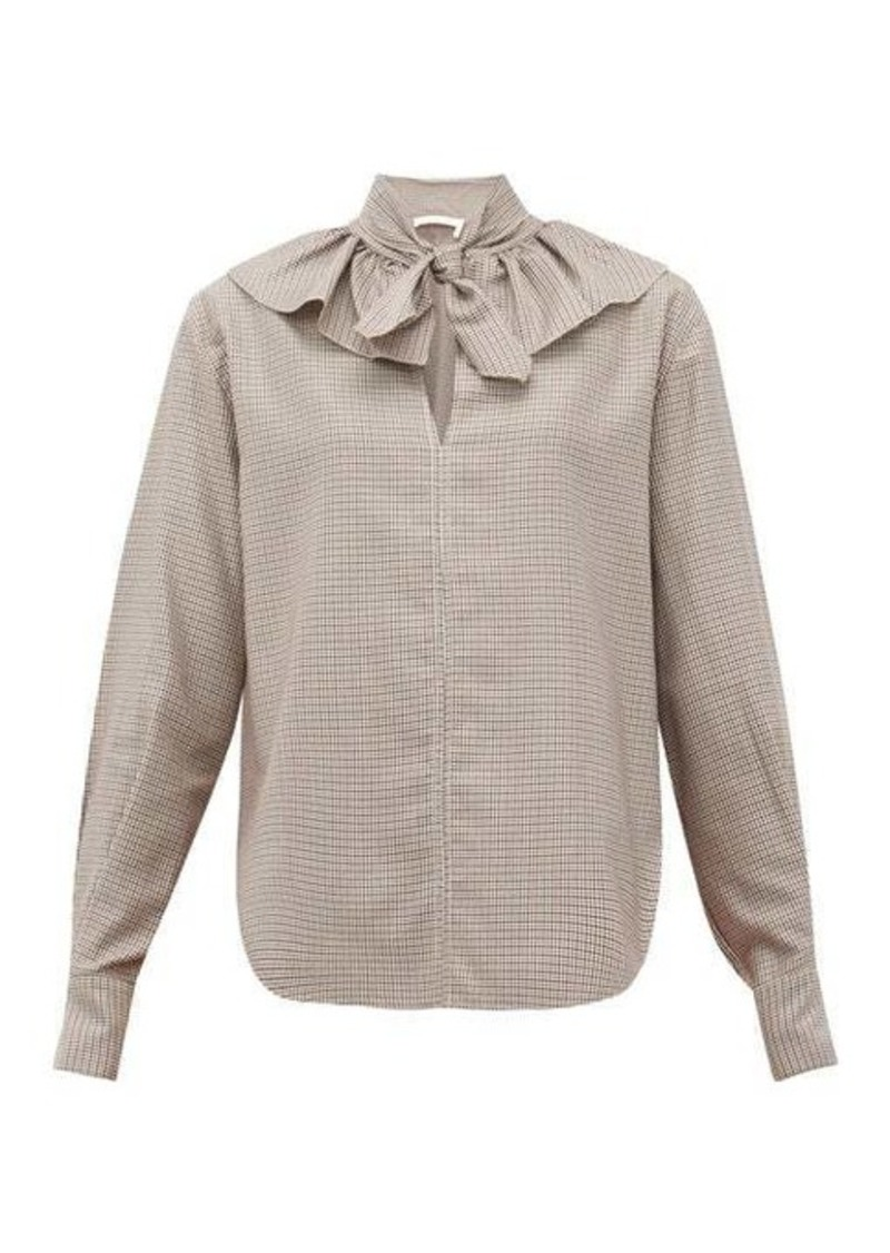 See By Chloé Tie-neck houndstooth-twill blouse