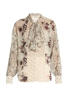 See By Chloé Tie-neck multi floral-print blouse