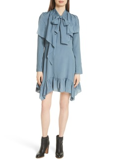 See by Chloé Tie Neck Ruffle Hem Dress