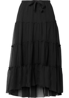 See by Chloé Tiered Cotton And Silk-blend Crepon Midi Skirt