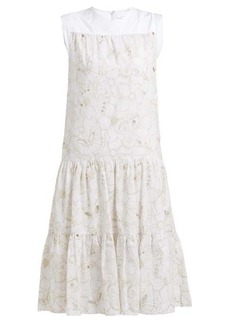 See By Chloé Tiered floral broderie-anglaise cotton midi dress