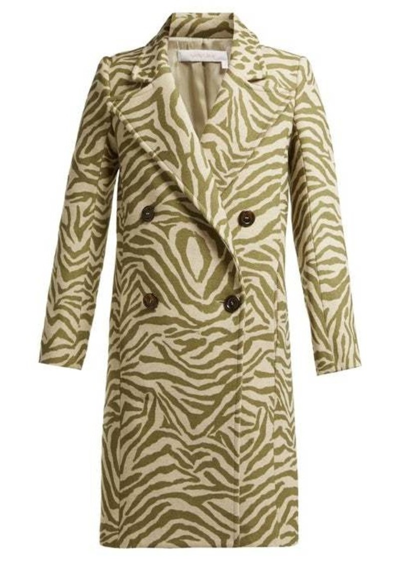 See By Chloé Tiger-print wool-blend coat
