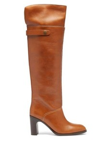 See By Chloé Topstitched over-the-knee leather boots