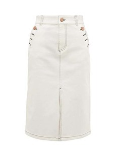 See By Chloé Topstitched stretch-denim skirt