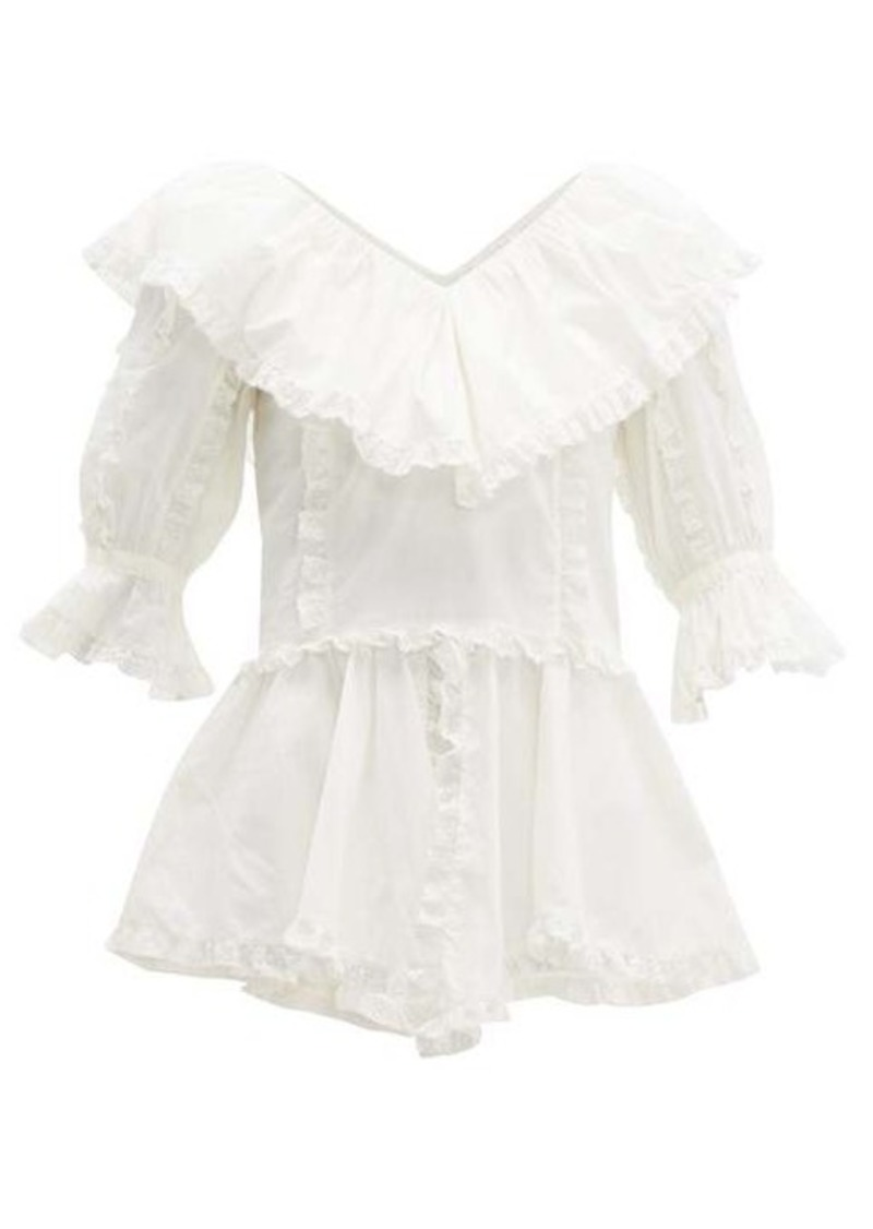 See By Chloé Tulle lace-trimmed cotton-poplin blouse