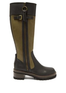 See By Chloé Two-tone knee-high leather boots