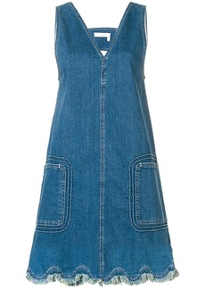 See By Chloé v-neck denim dress - Blue