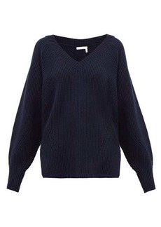 See By Chloé V-neck ribbed wool-blend sweater