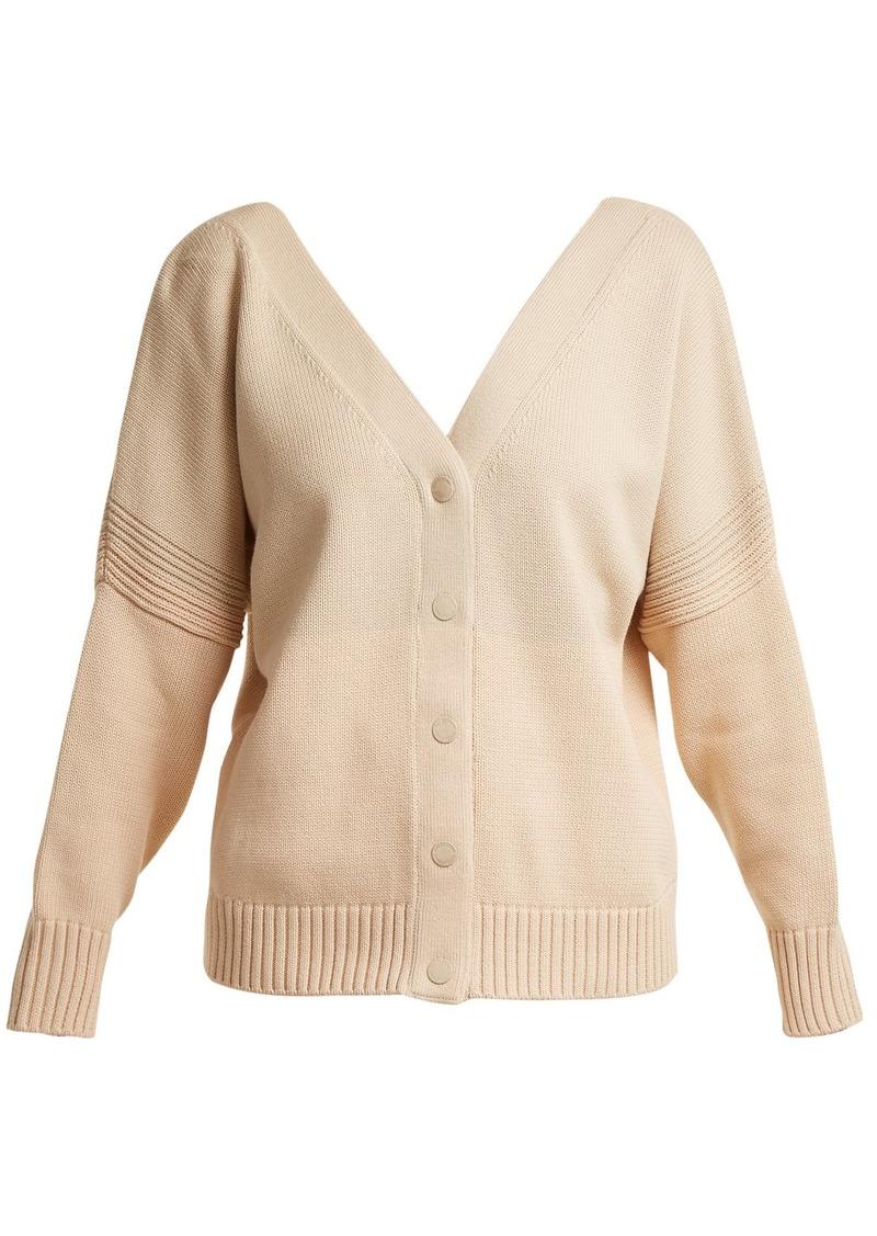 f7314c54 V-neck tri-colour cotton-knit cardigan