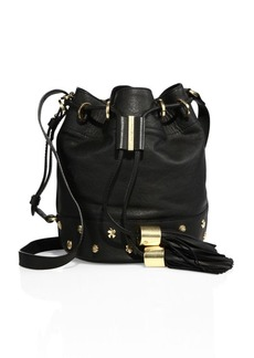 See by Chloé Vicki Charm Small Leather Bucket Bag
