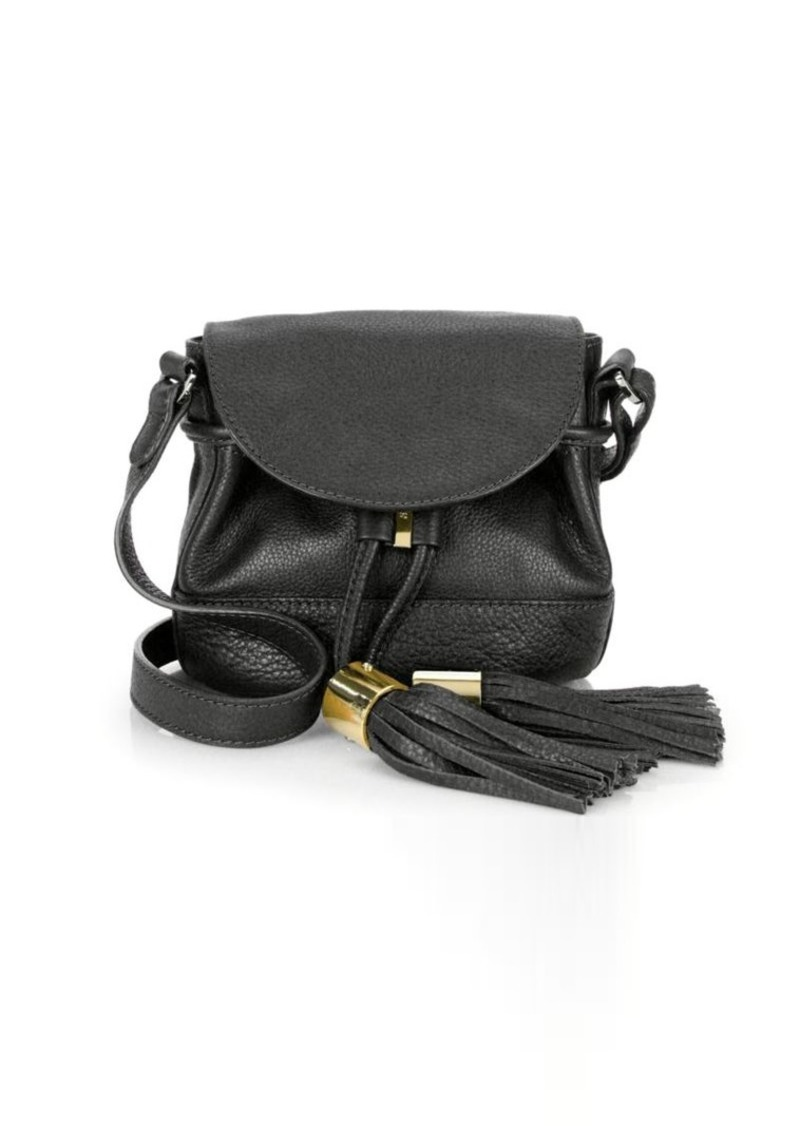 See by Chloé Vicki Pebble Leather Flap Bucket Bag  c069663386f15