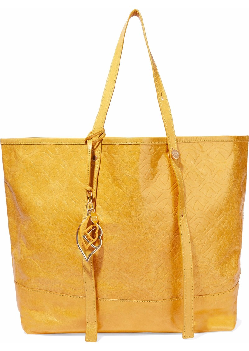 See By Chloé Woman Andy Bisou Embossed Washed-leather Tote Mustard