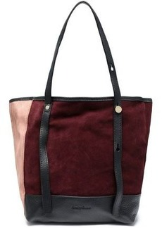 See By Chloé Woman Andy Leather-trimmed Color-block Suede Tote Burgundy