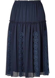 See By Chloé Woman Floral-appliquéd Gathered Gauze Skirt Navy