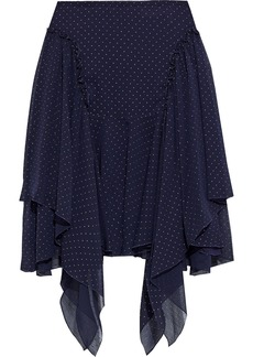 See By Chloé Woman Asymmetric Metallic Polka-dot Crinkled-chiffon Mini Skirt Midnight Blue