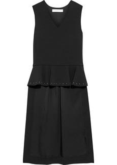 See By Chloé Woman Asymmetric Studded Stretch-crepe Peplum Top Black