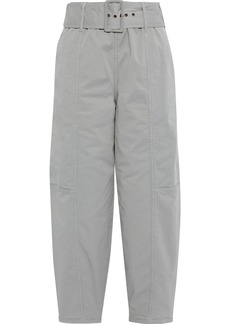 See By Chloé Woman Cropped Belted Cotton-blend Twill Tapered Pants Light Gray