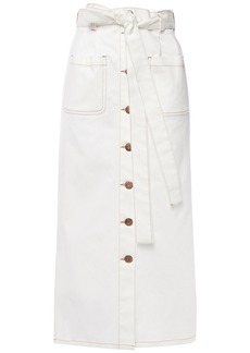 See By Chloé Woman Belted Denim Midi Skirt White