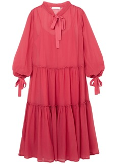 See By Chloé Woman Bow-detailed Cotton And Silk-blend Georgette Midi Dress Papaya