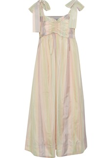 See By Chloé Woman Bow-detailed Ruched Striped Sateen Midi Dress Pastel Yellow