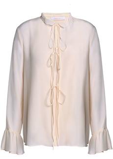 See By Chloé Woman Tie-front Silk Crepe De Chine Blouse Beige