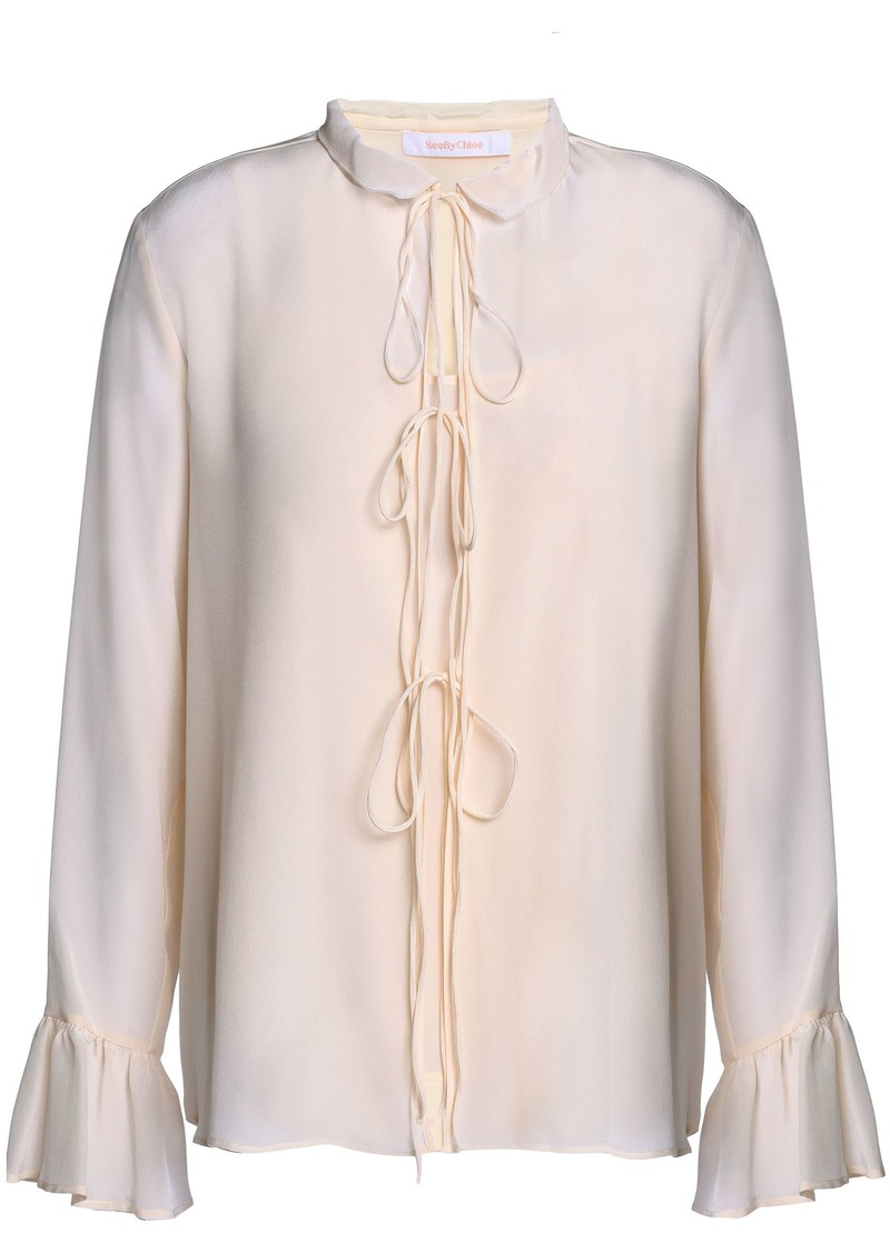 See By Chloé Woman Tie-front Silk Crepe De Chine Blouse Beige